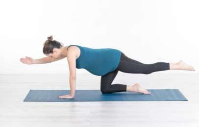 Pregnancy Pilates exercise for woman