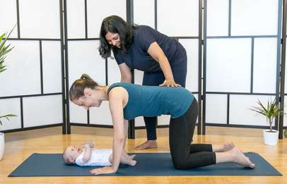 mother and baby pilates exercise